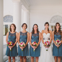Bridesmaids, Bridesmaids Dresses, Fashion, white, Bride, Gown, Wedding, Teal, Short, Dresses, Bouquets, Watters, Katelyn brad, Short Wedding Dresses