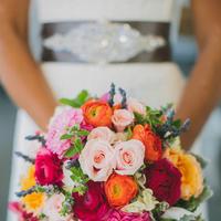 orange, pink, red, Bride, Roses, Bouquet, Belt, Katelyn brad