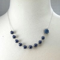 Flowers & Decor, Jewelry, blue, silver, Flower, And, Pearls, Snowflake