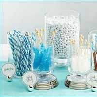Reception, Flowers & Decor, white, blue, silver, Candy, Buffet