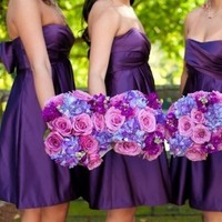 Flowers & Decor, Bridesmaids, Bridesmaids Dresses, Wedding Dresses, Fashion, purple, dress, Bridesmaid Bouquets, Flowers, Flower Wedding Dresses
