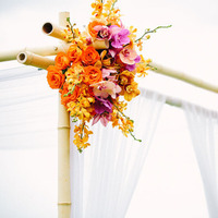 Ceremony, Flowers & Decor, orange, gold, Ceremony Flowers, Flowers, Tropical, Hawaiian, Exotic, Florals, Archway, Claire jing