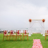 Ceremony, Flowers & Decor, pink, red, Outdoor, Tropical, Aisle, Claire jing
