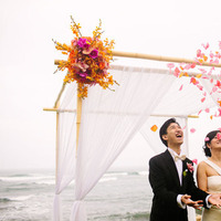 Ceremony, Flowers & Decor, Destinations, orange, red, Destination, Hawaiian, Petals, Exotic, Celebration, Claire jing