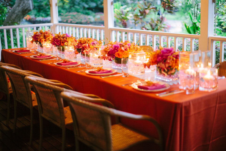 Reception, Flowers & Decor, Destinations, orange, Centerpieces, Candles, Centerpiece, Destination, Hawaiian, Exotic, Candlelight, Claire jing