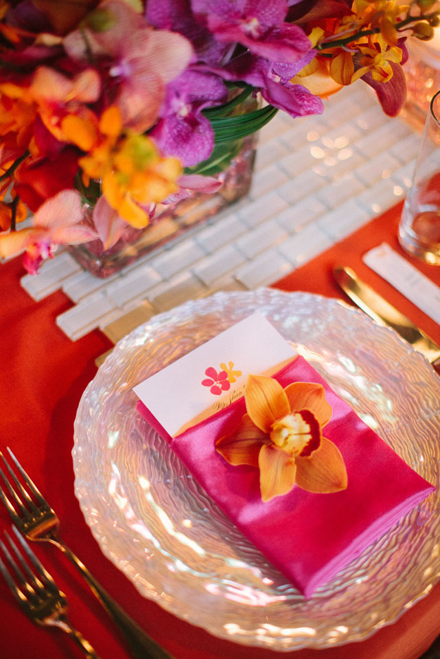 Reception, Flowers & Decor, Destinations, orange, Orchid, Destination, Hawaiian, Place, Exotic, Fuschia, Setting, Claire jing