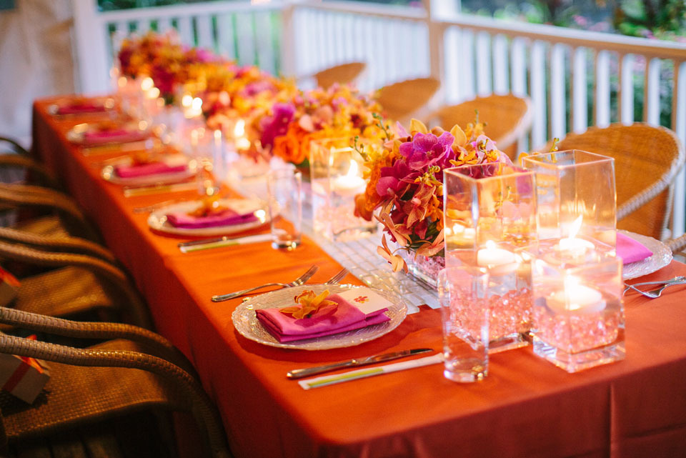 Reception, Flowers & Decor, Destinations, orange, red, Hawaii, Lighting, Candles, Destination, Hawaiian, Exotic, Tabletop, Candlelight, Claire jing
