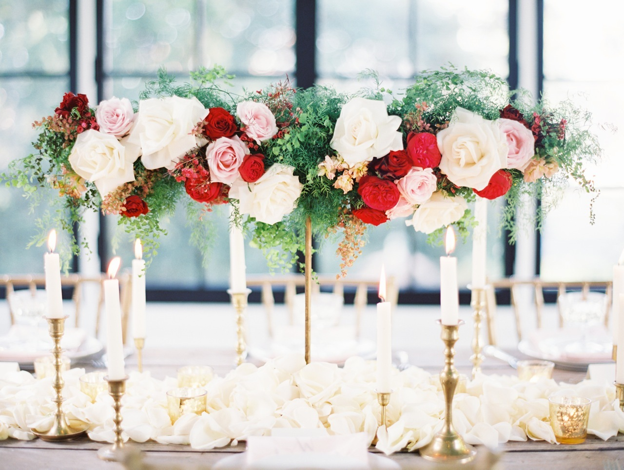 Flowers & Decor, Classic, Garden, Roses, Centerpiece, Romantic, Elegant, Clover, Sophisticated, Candlesticks, Love poems styled wedding