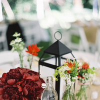 red, burgundy, Centerpiece, Peonies, Lantern, Milk, Bottles, Picnic, Colleen zachary
