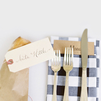 Calligraphy, white, black, And, Napkins, Place, Setting, Picnic, Gingham, Colleen zachary