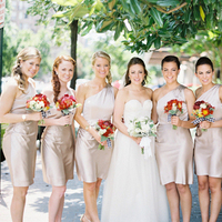 Bridesmaids, Bridesmaids Dresses, Fashion, ivory, red, Champagne, Beige, Bouquets, Tan, Gingham, Colleen zachary