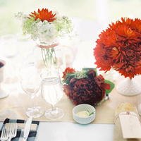 red, Rustic, Centerpiece, Elegant, Burlap, Florals, Picnic, Gingham, Colleen zachary
