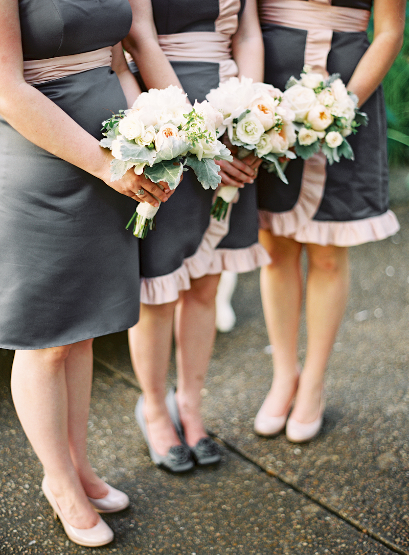 Bridesmaids, Bridesmaids Dresses, Ruffled Wedding Dresses, Fashion, pink, gray, Bouquets, Peonies, Ruffles, Naomi rachel
