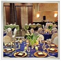 Reception, Flowers & Decor, white, blue, gold, Flowers, Tablecloth