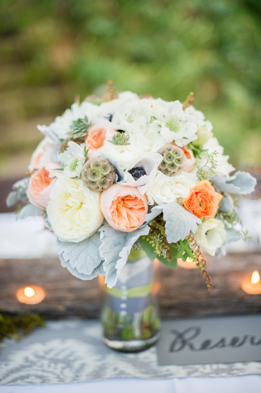 Flowers & Decor, ivory, Garden, Roses, Bouquet, Bridal, Peach, Lissa paul