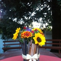 Ceremony, Reception, Flowers & Decor, yellow, orange, blue, brown, black, Ceremony Flowers, Flowers, Inspiration board, Centerpice