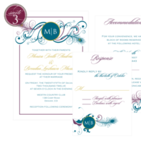 Stationery, purple, green, gold, Invitations
