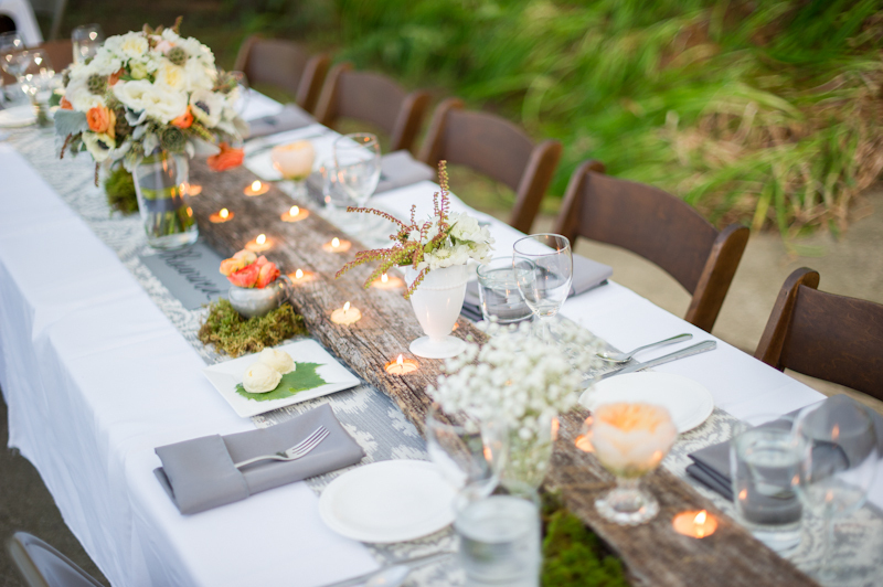 Reception, Flowers & Decor, Rustic, Lighting, Outdoor, Rustic Wedding Flowers & Decor, Grey, Peach, Wood, Candlelight, Lissa paul
