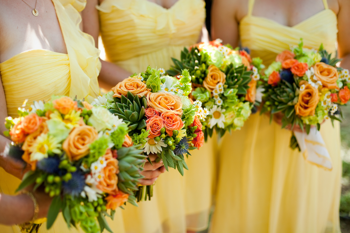Flowers & Decor, Bridesmaids, Bridesmaids Dresses, Fashion, yellow, Bridesmaid Bouquets, Flowers, Roses, Bouquets, Florals, Succulents, Jessica michael, Flower Wedding Dresses