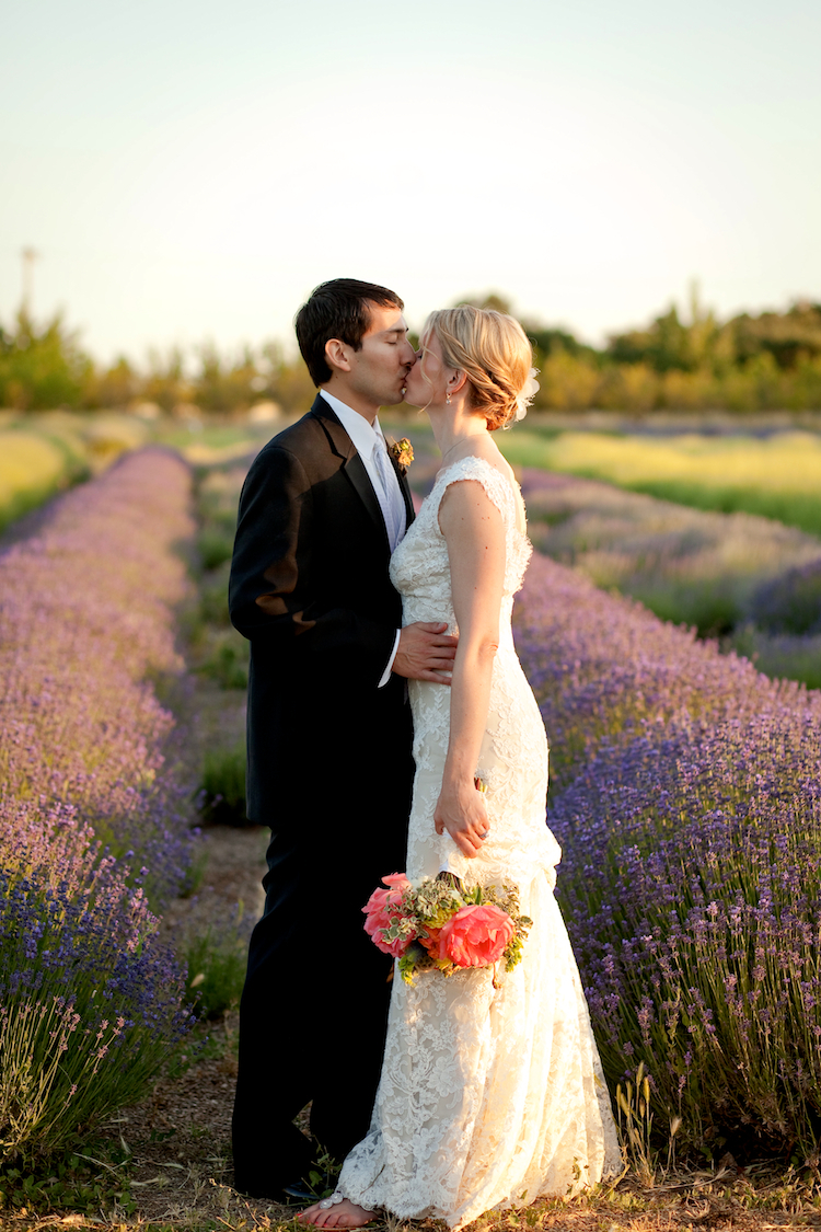 Bride, Groom, Lavender, Farm, Monique, Lhuillier, Flag, Field, Bear, Jessica michael, Organice