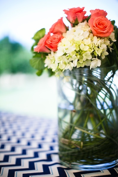 Reception, Flowers & Decor, Roses, Table, Hydrangeas, Navy, Jar, Chevron, Chalinee craig