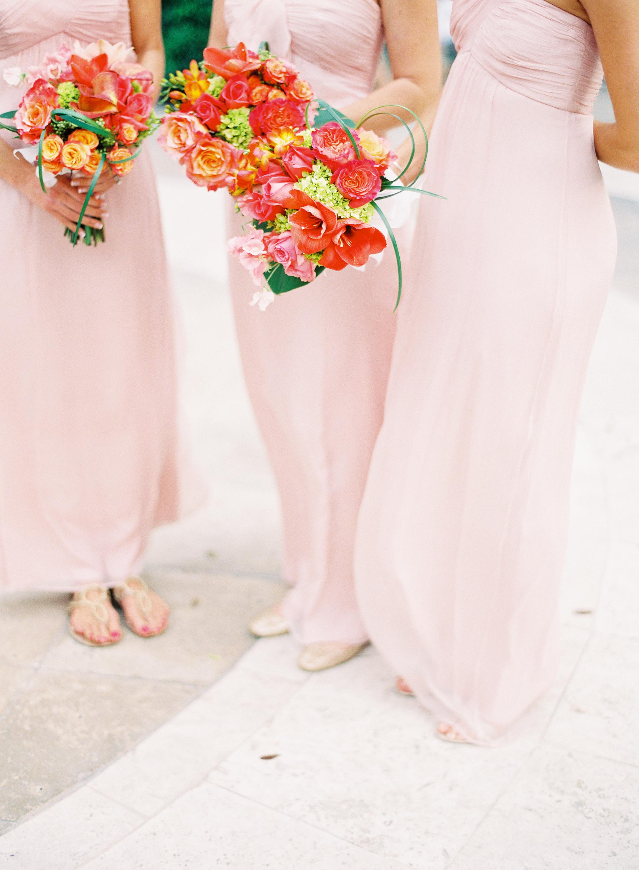 Bridesmaids, Bridesmaids Dresses, Fashion, pink, Bouquet, Lilies, Amsale, Coral, Blush, Karina mike