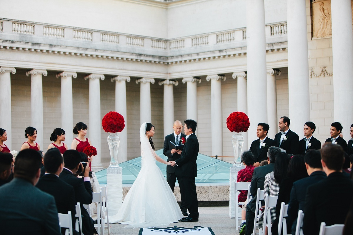 Ceremony, Flowers & Decor, Decor, red, Bride, Roses, Groom, Wedding, Courtyard, Museum, Wendy jason