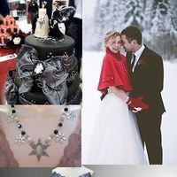 Jewelry, Wedding Dresses, Cakes, Fashion, white, red, blue, silver, cake, dress, Winter, Wedding, Gothic, Inspiration board, winter wedding dresses
