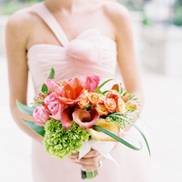 green, Bouquet, Lilies, Hydrangeas, Coral, Blush, Karina mike, One-shoulder