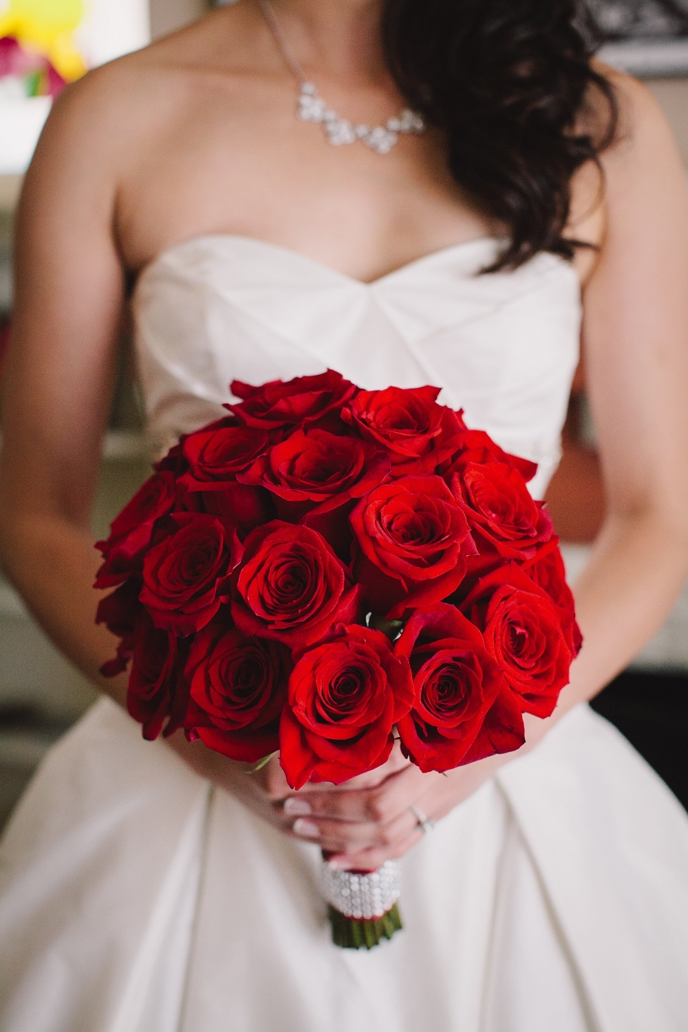 white, red, Roses, Bouquet, Gown, Sweetheart, Neckline, Wendy jason