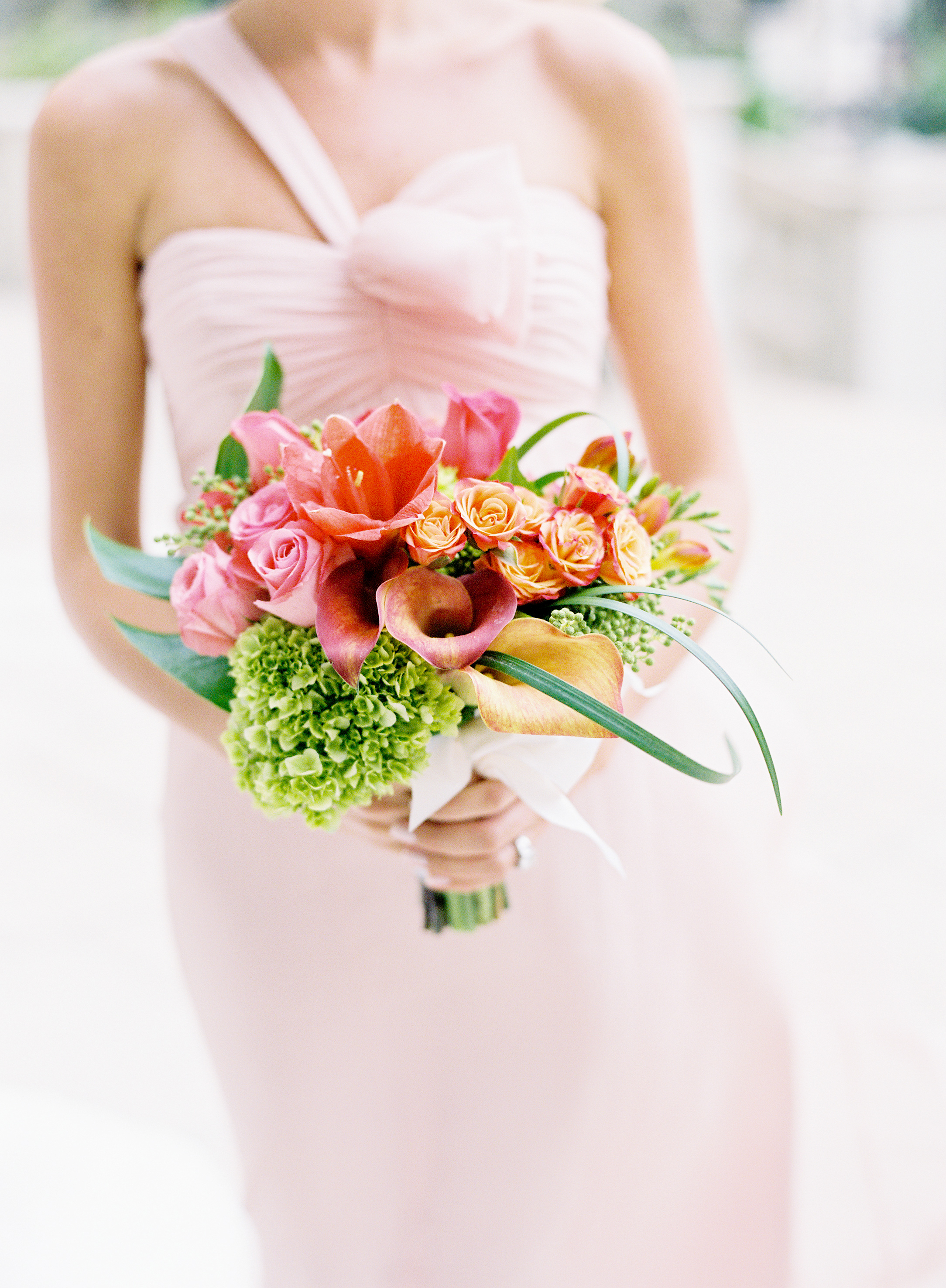 green, Bouquet, Lilies, Hydrangeas, Coral, Blush, Karina mike, One-shoulder