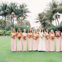Bridesmaids, Bridesmaids Dresses, Fashion, white, pink, Bride, Bouquet, Lilies, Amsale, Coral, Blush, Karina mike