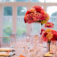 Reception, Flowers & Decor, pink, red, silver, Centerpieces, Tables & Seating, Roses, Chairs, Linens, Tablecloth, Hydrangeas, Museum, Shiny, Crimson, Wendy jason