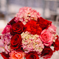 Flowers & Decor, pink, red, silver, Centerpieces, Tables & Seating, Roses, Chairs, Linens, Tablecloth, Hydrangeas, Shiny, Crimson, Wendy jason