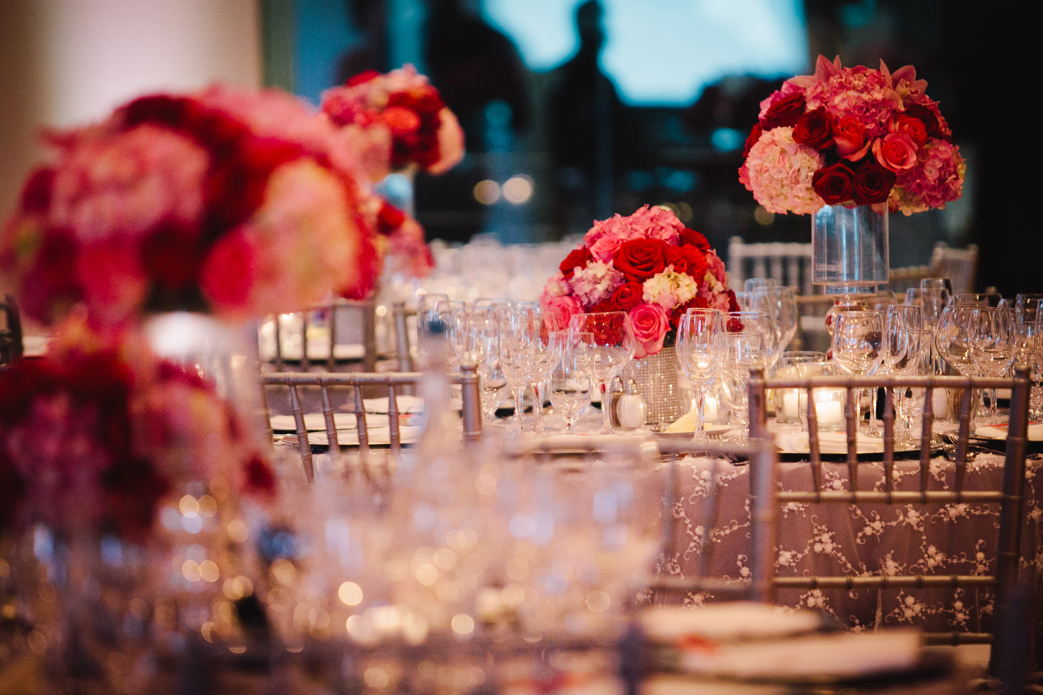 pink, red, Centerpieces, Roses, Hydrangeas, Crimson, Wendy jason