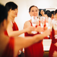 Bridesmaids, Bridesmaids Dresses, Fashion, red, Bride, Toast, Cheers, Wendy jason