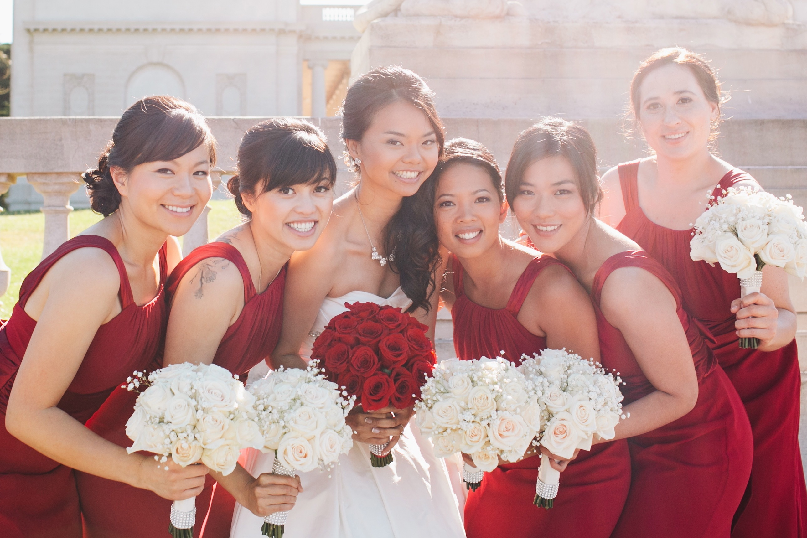 Bridesmaids, Bridesmaids Dresses, Fashion, white, red, Roses, Bouquet, Dresses, Babys, Breath, Wendy jason