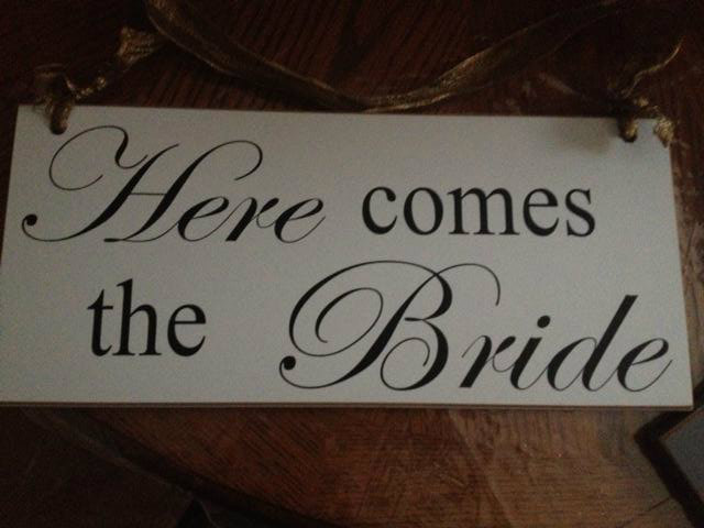 Ceremony, Flowers & Decor, white, black, Bride, The, Inspiration board, Sign, Comes, Here, Plaque, Channa