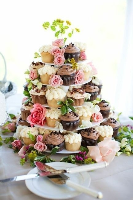 Flowers & Decor, Cakes, white, yellow, pink, purple, green, brown, cake, Rustic, Flowers, Cupcake