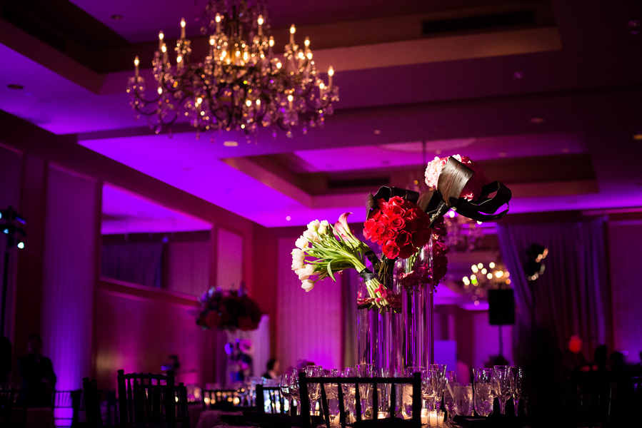 Reception, Flowers & Decor, Jennifer jamie, Ballroom wedding, Pink lighting
