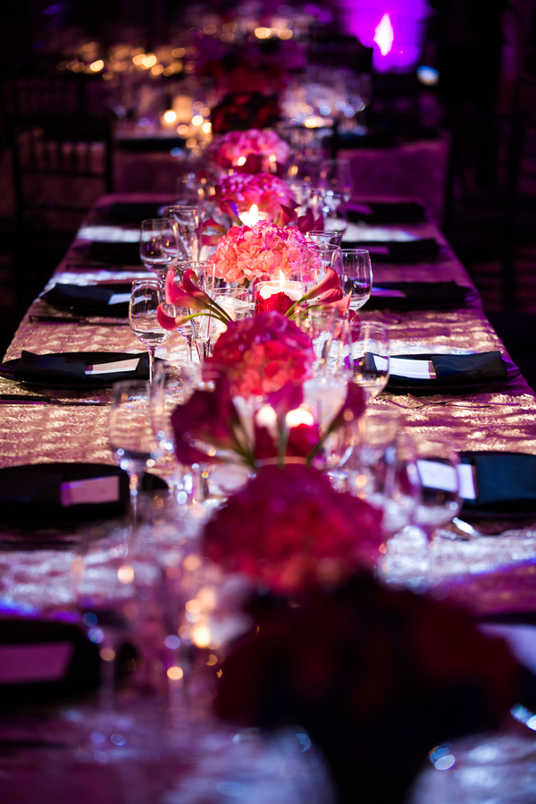 Flowers & Decor, pink, Flowers, Wedding reception, Jennifer jamie, Silver table cloth, Four seasons wedding