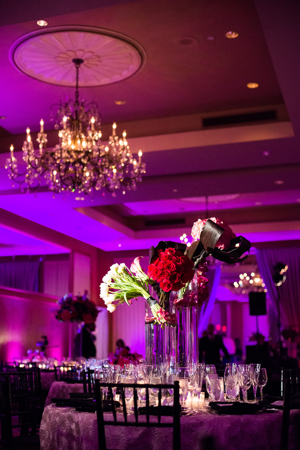 Reception, Flowers & Decor, Jennifer jamie, Ballroom wedding, Pink lighting