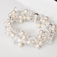 Jewelry, white, silver, Bracelets, Beach, Wedding, And, Crystal, Bracelet, Swarovski, Pearl