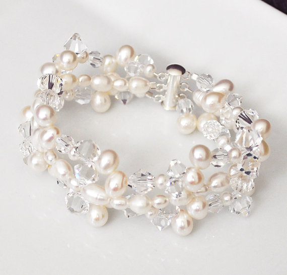 Jewelry, white, silver, Bracelets, Beach, Wedding, And, Crystal, Bracelet, Swarovski, Pearl