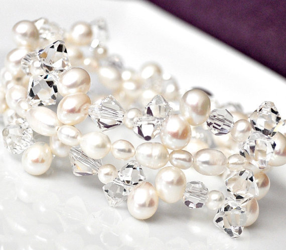 Jewelry, white, Bracelets, Beach, Wedding, And, Crystal, Bracelet, Swarovski, Pearl