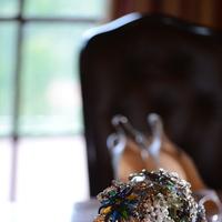 Bouquet, Wedding, Jewel tones, Persephone eddie, Vintage brooch bouquet