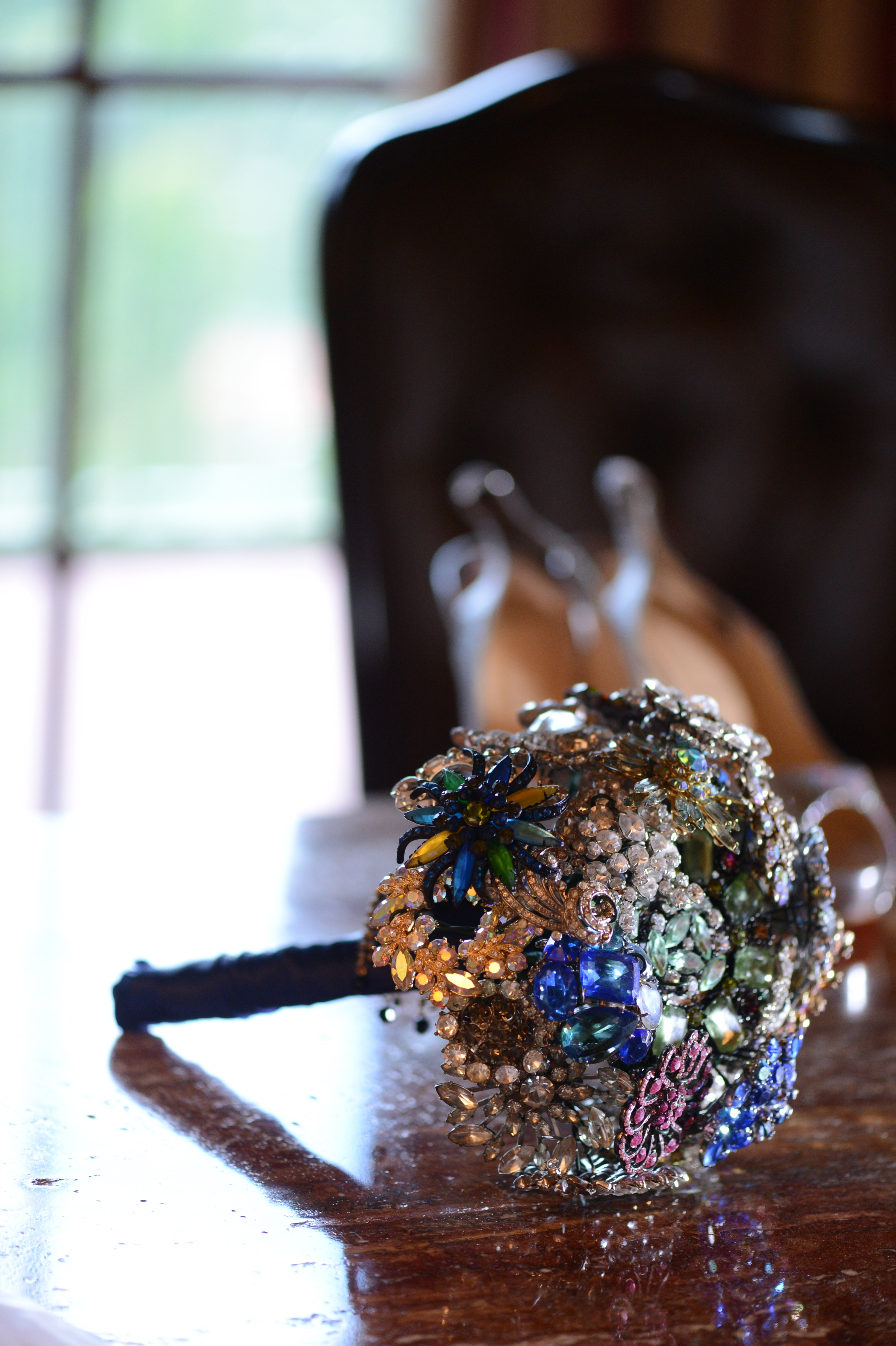 Bouquet, Wedding, Jewel tones, Persephone eddie, Vintage brooch bouquet