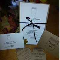 Ceremony, Reception, Flowers & Decor, Stationery, brown, Invitations, Wedding, County, Personalized, Jar, Mason, Package