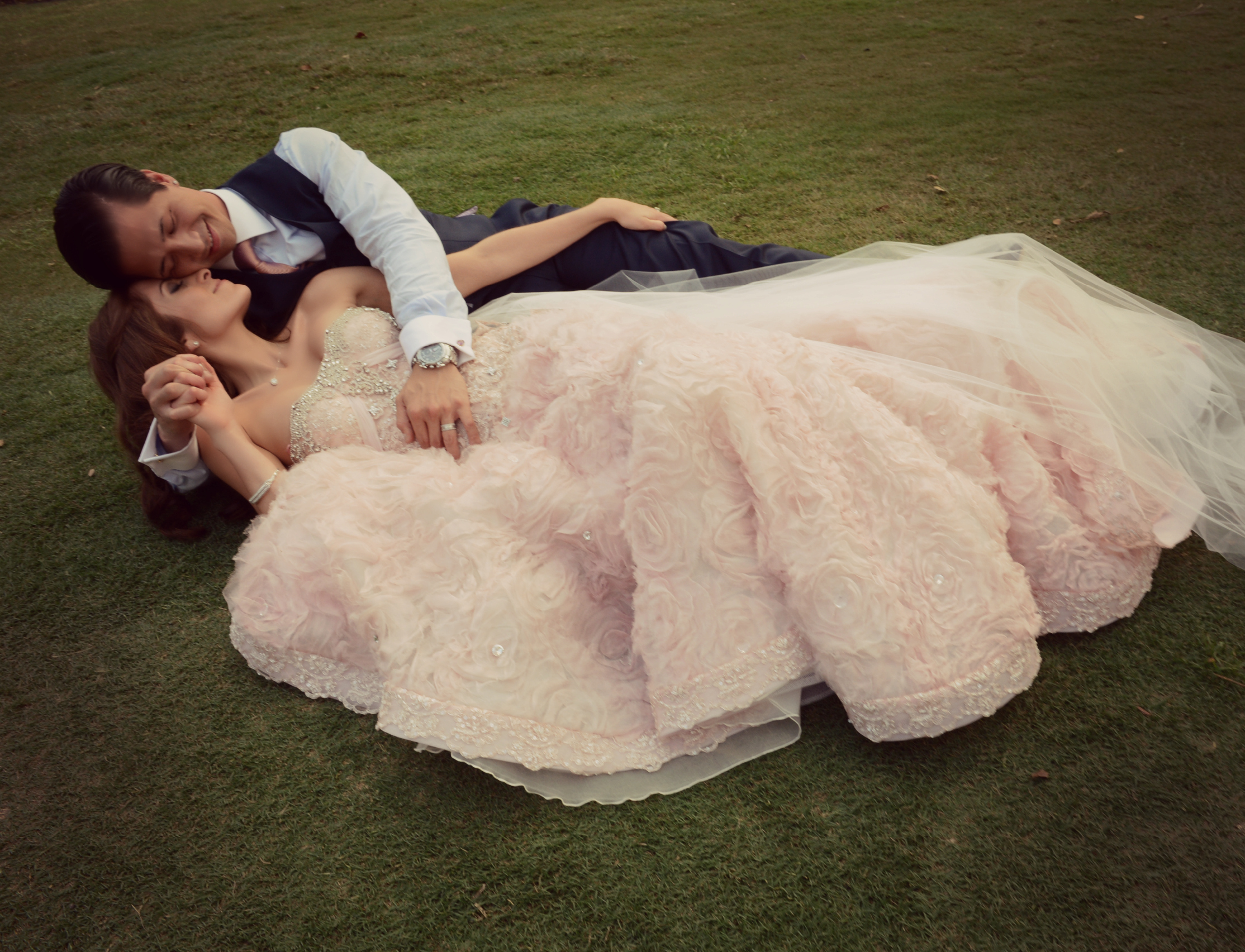 Wedding Dresses, Fashion, pink, dress, Gown, Train, Wedding, Kiss, Couple, Picture, Persephone eddie, Pink wedding dress