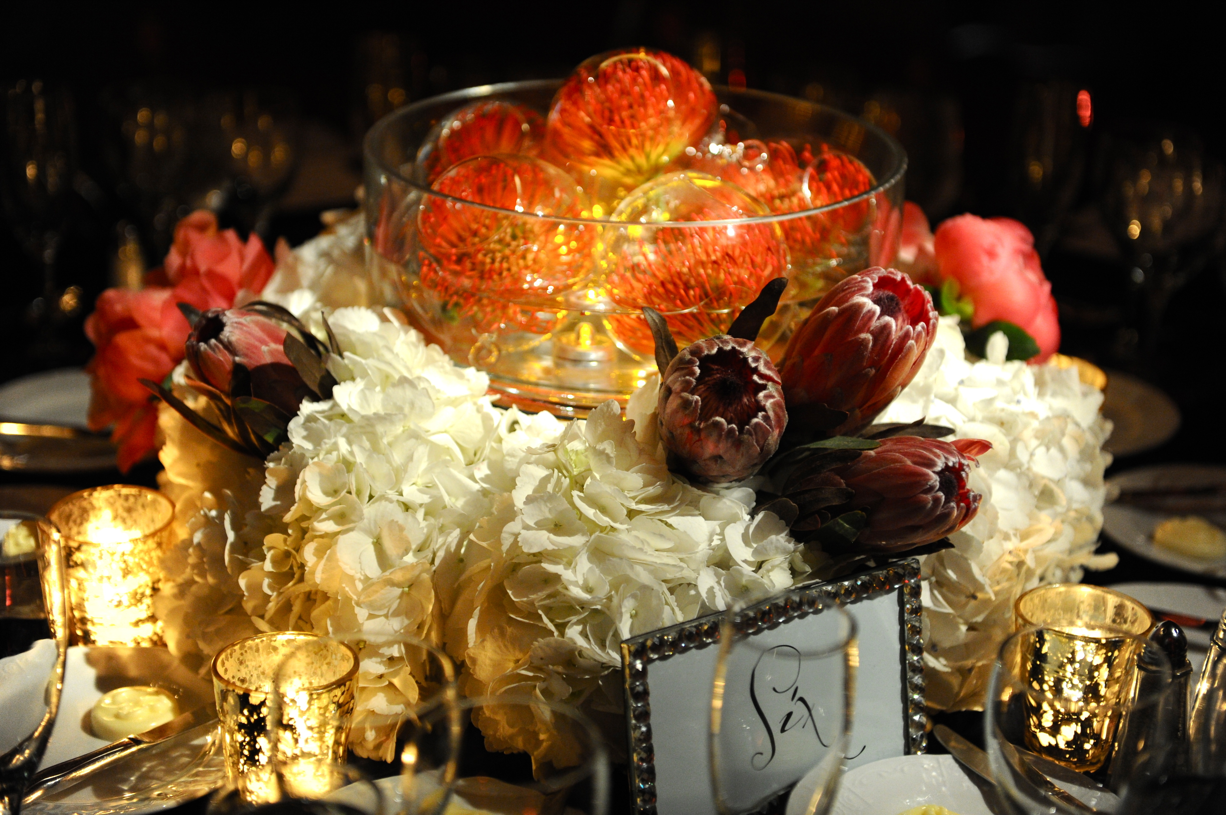 orange, Centerpiece, Wedding, Coral, Formal, Tablescape, Dramatic, Persephone eddie